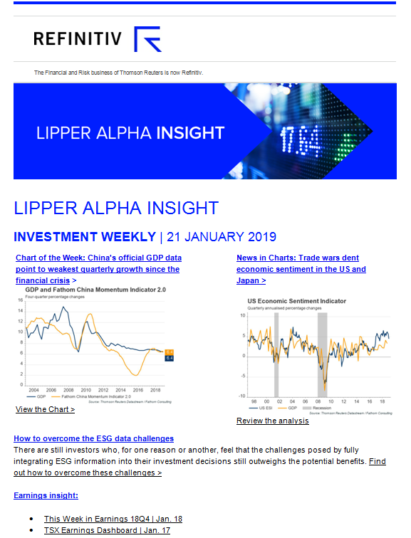 Lipper Alpha Insight Newsletters